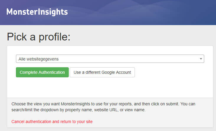 Monsterinsights Activeren Google analytics